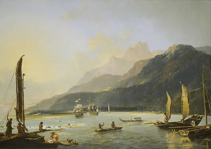 Resolution and Adventure with fishing craft in Matavai Bay, painted by William Hodges in 1776, shows the two ships of Commander James Cook's second voyage of exploration in the Pacific at anchor in Tahiti.